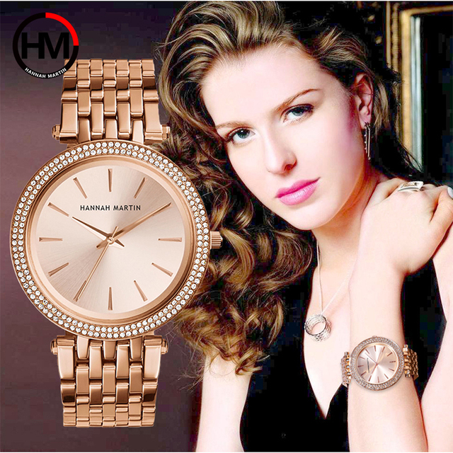 Luxury Brand Rose Gold Women Wristwatches Fashion Simple Stainless Steel Ladies