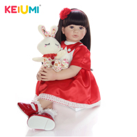 KEIUMI 24 Inch Reborn Baby Doll Toys 60 cm Vinyl Princess Toddler Babies Dolls Girls Birthday Gift Present Child Play House Toy