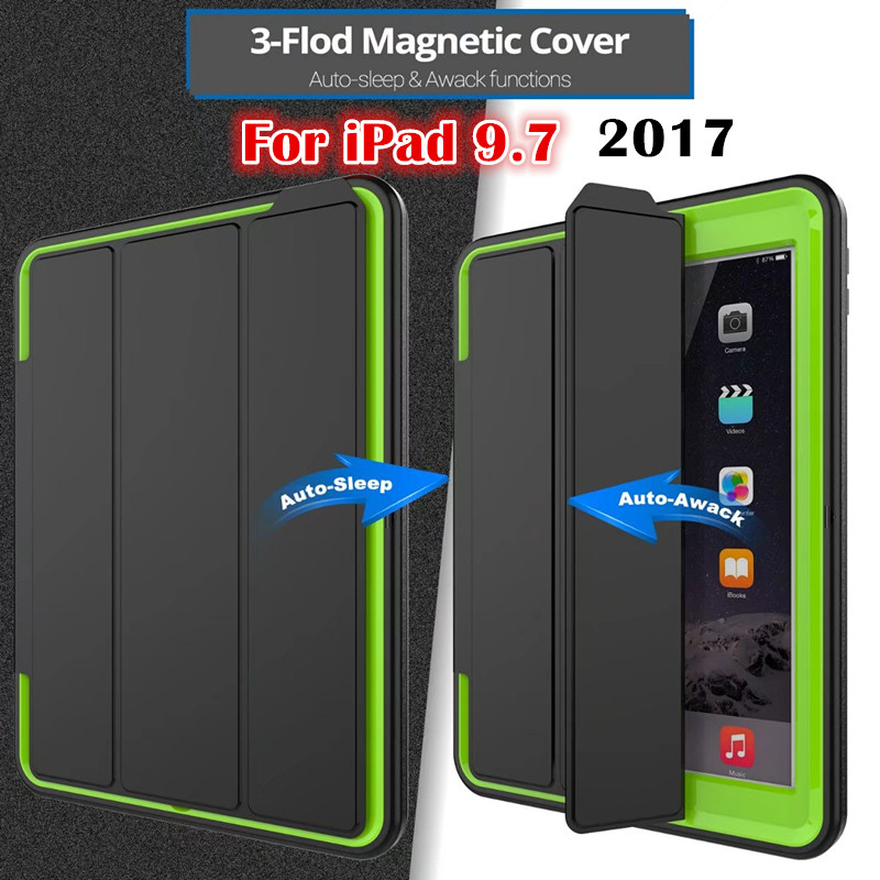 Magnet Flip Cover For Apple New iPad 9.7 2017 2018 A1822 A1893 Tablet case Smart Cover Amor Heavy Duty Case Protective shell цена