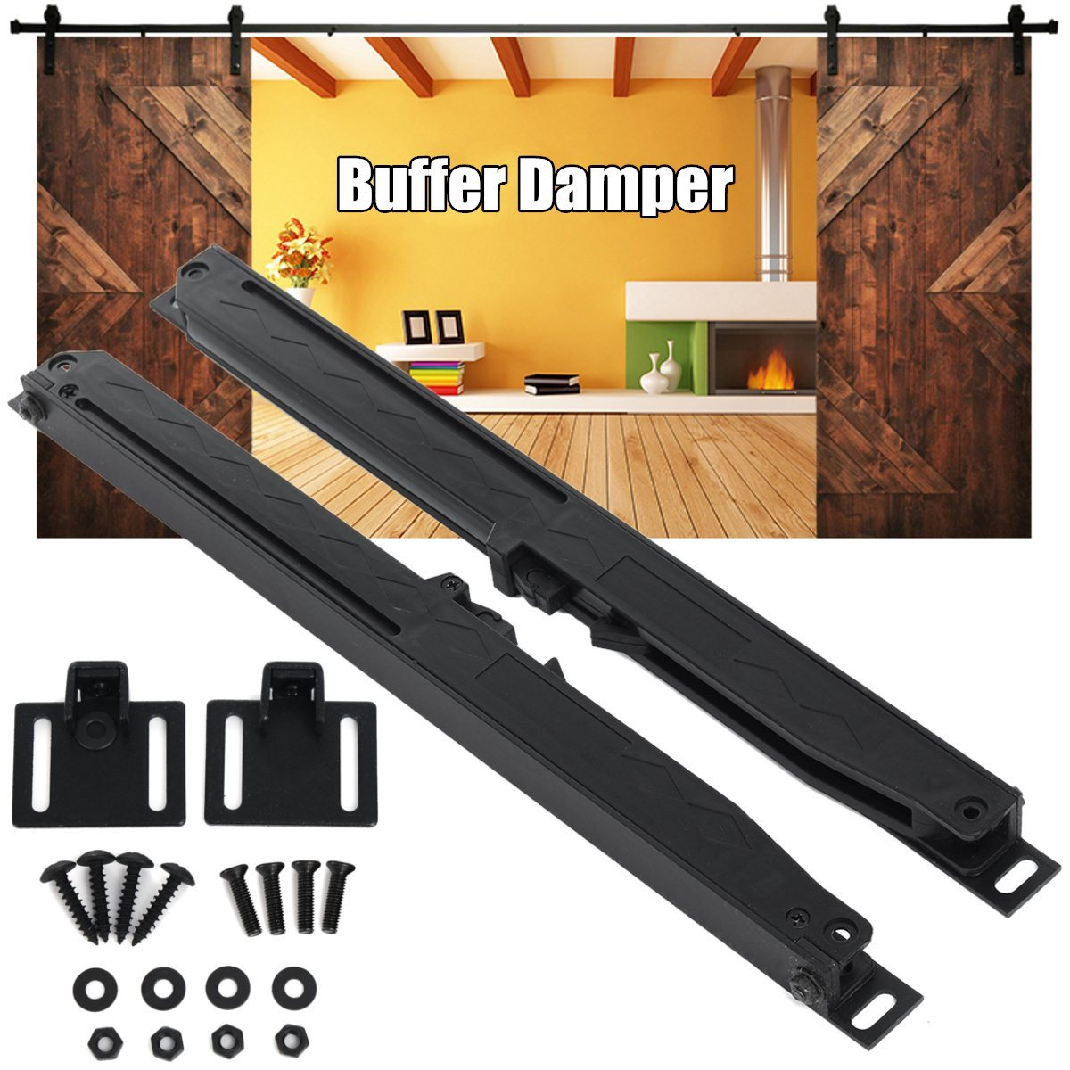 Any Side Sliding Barn Door Hardware Soft Close Drawer Slide Track Buffer Damper New Arrival 4pcs naierdi c serie hinge stainless steel door hydraulic hinges damper buffer soft close for cabinet kitchen furniture hardware