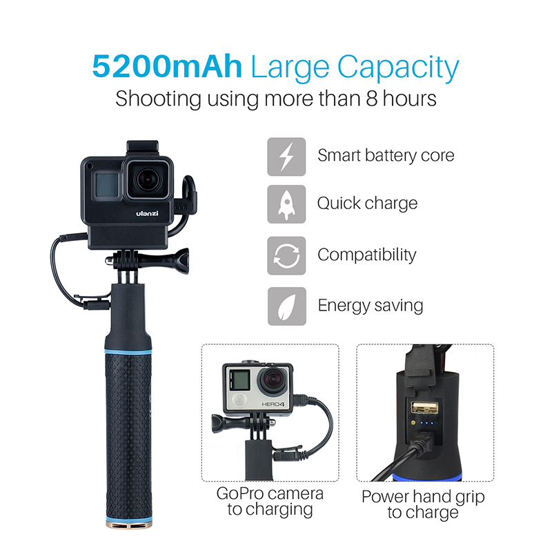 5200mAh Go Pro Power Bank Stick Battery Hand Grips for DJI action camera Gopro Hero 7 6 5 Gopro Accessories-0