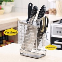 Kitchen Tools Stainless Steel Knife Storage Rack Knives Block Desktop Knives Holder With Water Tray Shelf Stand for Knives
