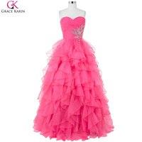 Long Yellow Prom Dresses 2016 Grace Karin Strapless Organza Ball Gowns Cheap Blue Graduation Dress Elegant