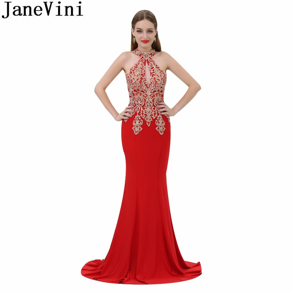 Red And White Formal Dresses: JaneVini White/Red Mermaid Girls Prom Dress With Gold Lace