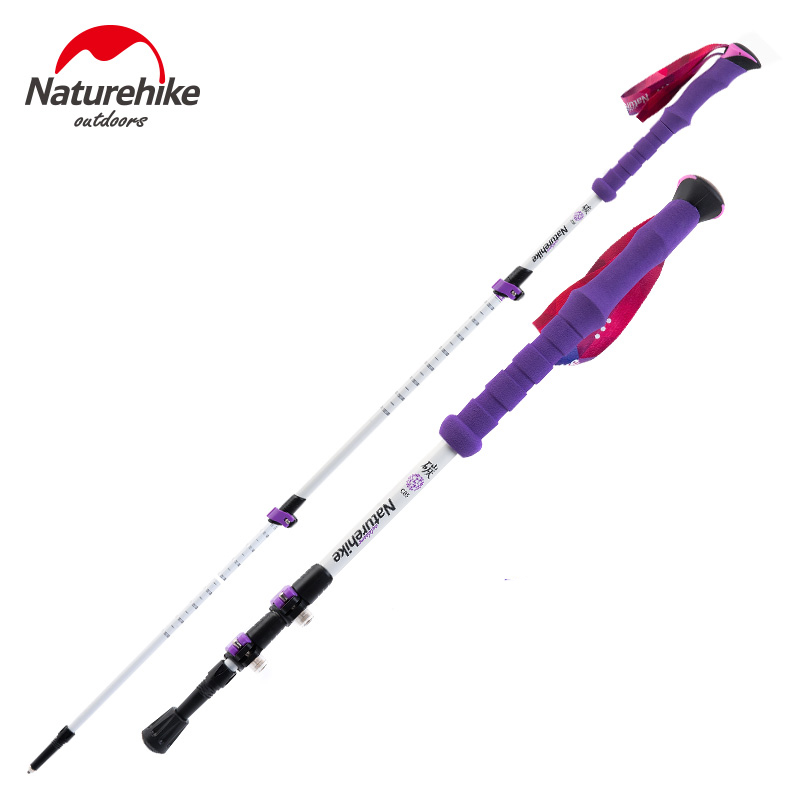 Naturehike Carbon Fiber Walking Stick Trekking Poles Alpenstock Hiking Cane Ultralight Adjustable 1PCS 3 Section His-and-Hers