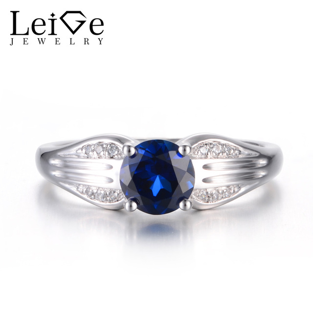ba28cf3cbe Leige Jewelry Blue Sapphire Ring Proposal Rings Round Cut Blue Stone Rings  925 Sterling Silver Fine Jewelry Vintage Ring for Her