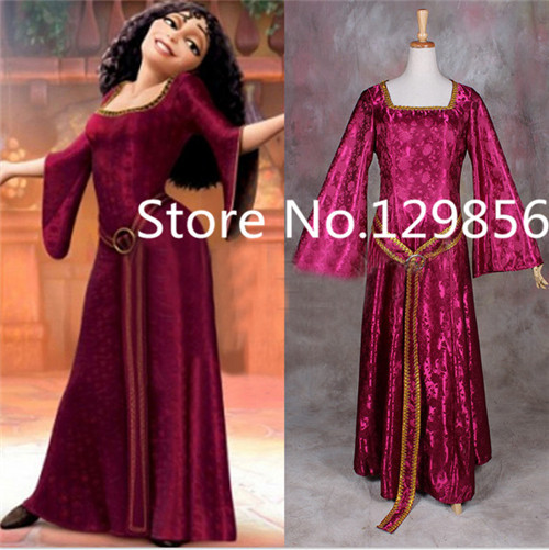 Customized Costume Rapunzel Tangled Mother Gothel Dress Costume Cosplay Adult Woman's Medieval Dress Party Cosplay Cotume ruffles 2029 gaess medieval dress costume cartoon character costumes dress medieval dress
