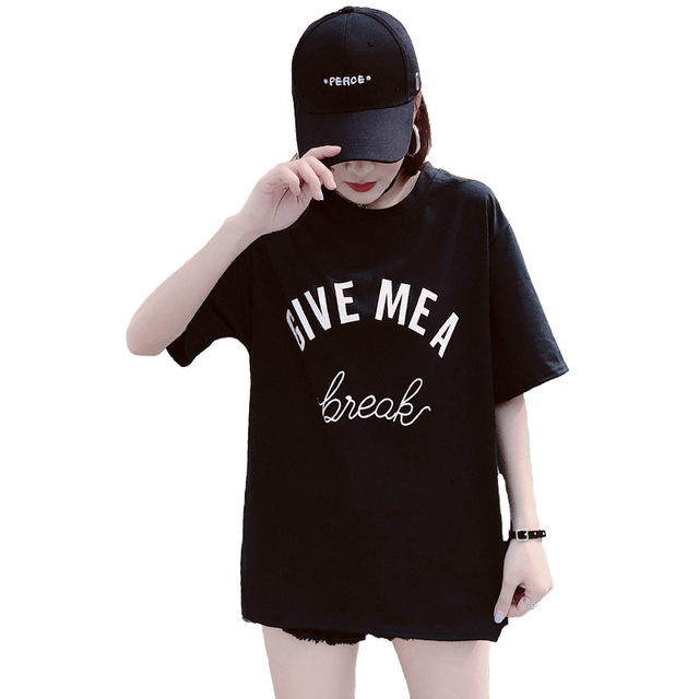 2018 New Arrival Letter GIVE MEA Printed Cotton Casual T-Shirt Women Street Fashion Style Korea Ulzzang Loose O-Neck Tee Tops