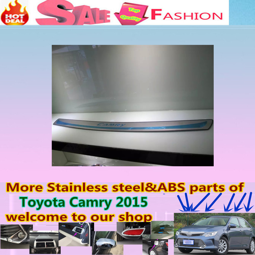 Free shipping for Toyota Camry 2015 car styling cover detector External Stainless Steel Rear back Bumper trim plate pedal 1pcs for porsche cayenne 2015 stainless steel outer rear bumper foot plate trim 1pcs car styling