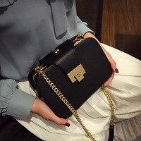 2018 neue Frauen Kette Riemen Flap Messenger Taschen Lady Clutch Tasche Mit Metallschnalle Mode Frauen Umhängetasche Handtaschen