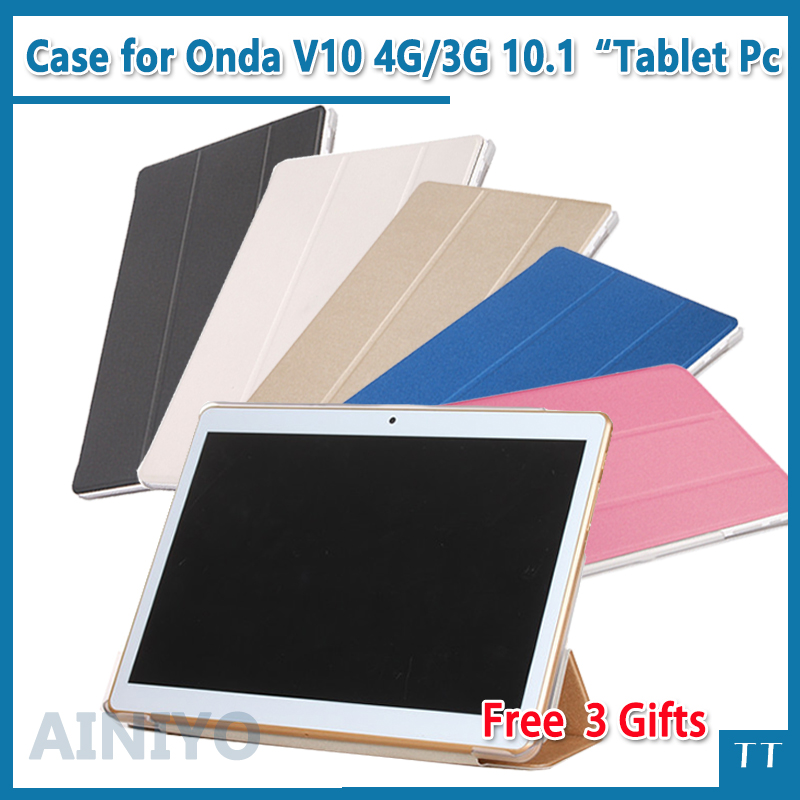 For Onda V10 4g case High quality Stand Pu Leather protective case for Onda V10 3G call phone 10.1 inch tablet pc + free 3 gifts