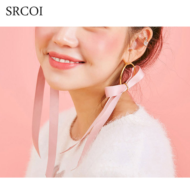 Srcoi Sweet Pink Ribbon Bow Earrings Gold Color Hoops Ear With Long Silk Velvet Drop