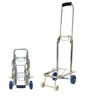 Stainless Steel Portable Folding Cart Household Carts Luggage Cart Trolley Small Trailer Bag