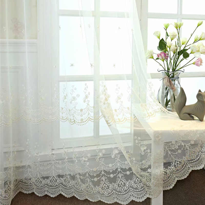 Embroidered Floral Voile Curtain for Bedroom Beige Pink Countryside Delicate Sheer Bay Window Home Decor Cortinas M061C