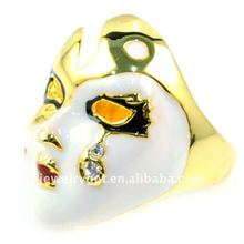 Fashion Gold Plated Peking Opera mask steampunk jewelry ring , cubic zirconia rings for women , RN-597