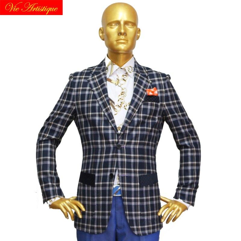 Custom Tailor Made Men's Bespoke Suits Business Formal Wedding Ware Bespoke 2 Piece (Jacket+Pants) Navy Plaid Wool Slim Fit 2019