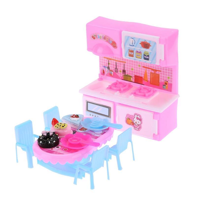 6pcs Set Plastic Mini Kitchen Toys Dollhouse Dining Table Toys