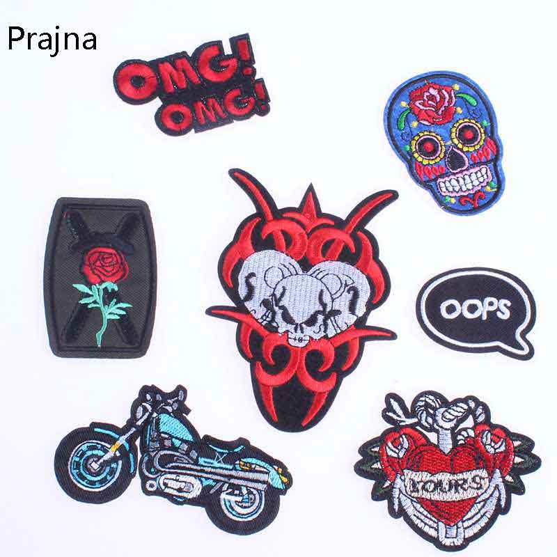 Prajna Cool Biker Patch Applique Embroidery Flower Patches For Clothes Funny Logo Label Iron On Sew Applique Badges For Kids E