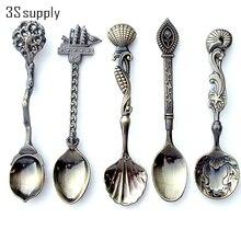 New 5Pcs/set Vintage Royal Style Carved Coffee Spoon Novelty Halloween Dinner Spoon Flatware Cutlery Set Mini Ice Cream Spoon