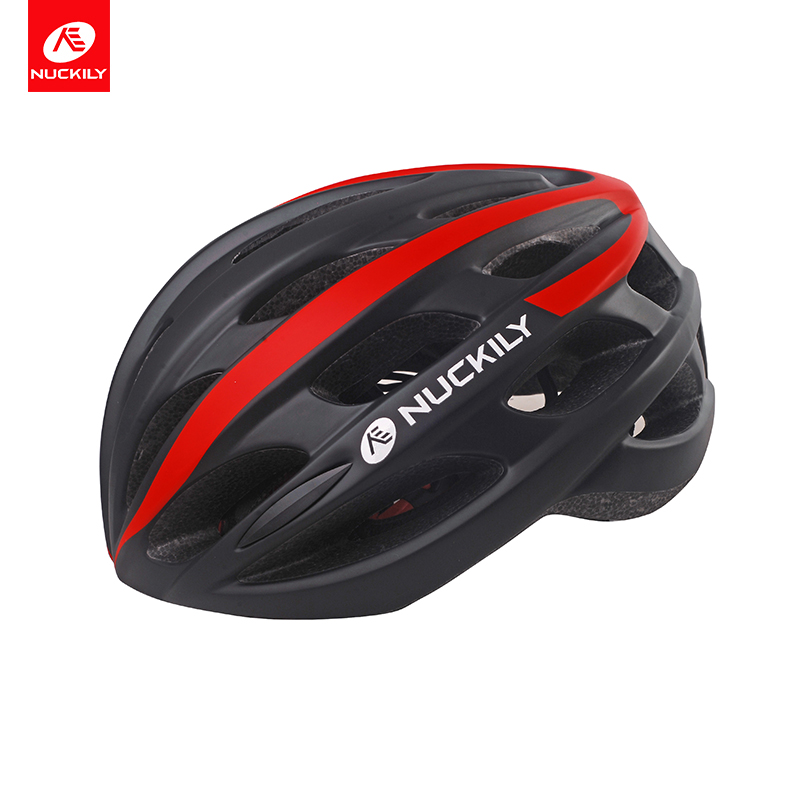 NUCKILY bicycle helmet integrally-molded CE safety standard ABS micro shell EPS liner cycling helmet with LED warning light PB05 nuckily pb02 fixed gear bike bicycle cycling safety helmet matte red