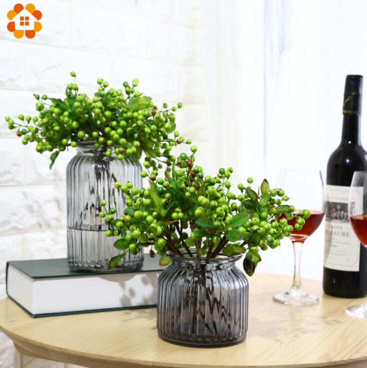 10PCS Artificial Blueberry Decorative Fruit Berry Flower Bud Silk Flowers Fruits For Wedding Home Party Decoration Silk Plants