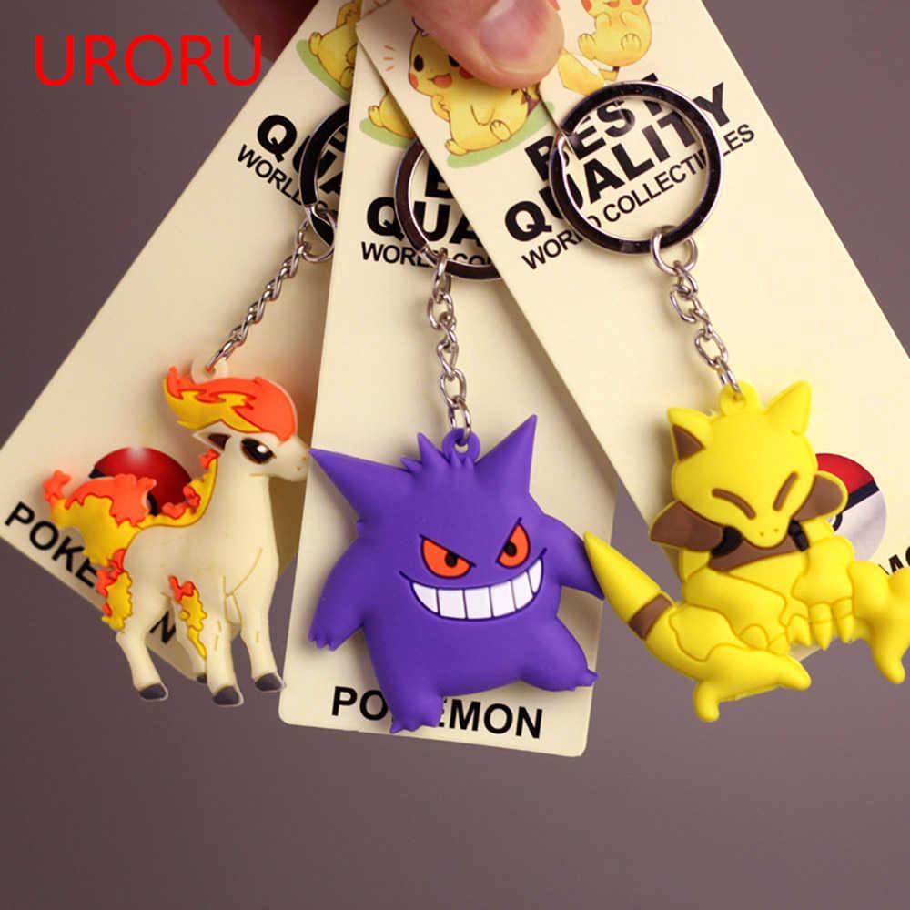 Keychains de pvc dos desenhos animados pokemongo chaveiro anime pikachu chaveiro gengar casey ponyta dragão 3d bonito pingentes chaveiro