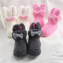 Детские носки средней длины для девочек с бантом Кроликом коралловым