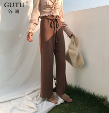 [GUTU] 2018 New Fashion Autumn spring Solid Color Pants High Wasit Tie Loose Big Size Casual Woman Straight Pants FA49101(China)