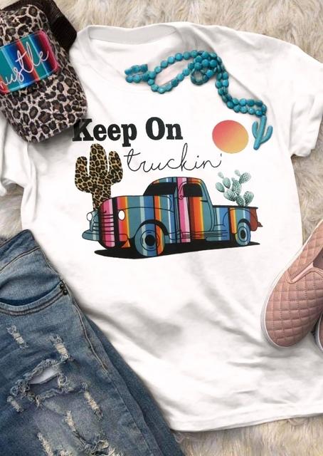 Keep On Truckin' Cactus Print Tshirt