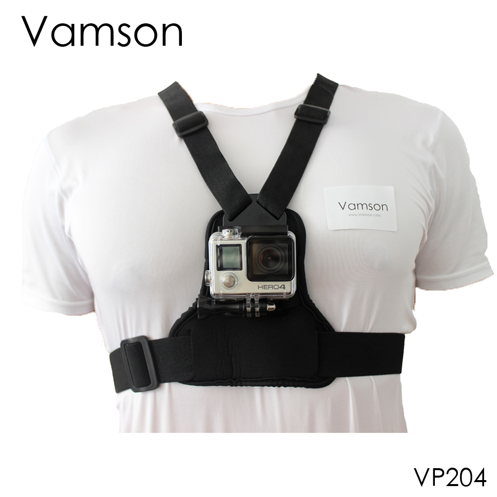 Vamson for Go Pro Accessories Elastic Body Harness Strap Chest Strap Mount for Gopro Hero 4 3+ 2 1 for yi for SJCAM Camera VP204