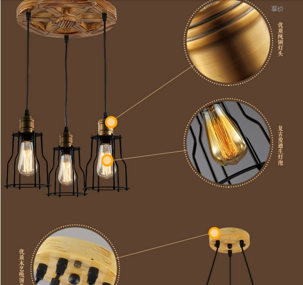 Creative Wood RH Style Industrial Pendant Light With3 Lights In America  Rustic Vintage Lamp Lamparas Lampen