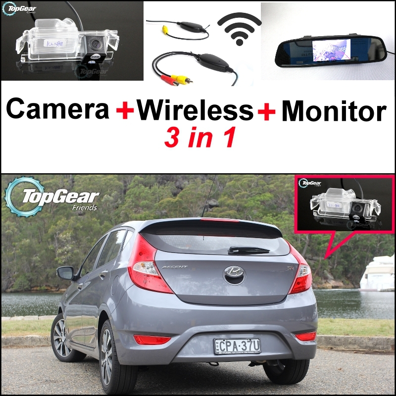 ФОТО 3 in1 Special Camera + Wireless Receiver + Mirror Monitor Back Up Parking System For Hyundai Accent RB Blue Wit i25 Hatchback