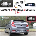 3 in1 Special Camera + Wireless Receiver + Mirror Monitor Back Up Parking System For Hyundai Accent RB Blue Wit i25 Hatchback