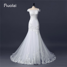 Real Photo Gorgeous Off the Shoulder Appliques Lace Mermaid Wedding Dresses with Crystal Beaded Bridal Gown Robe de Mariage FW88