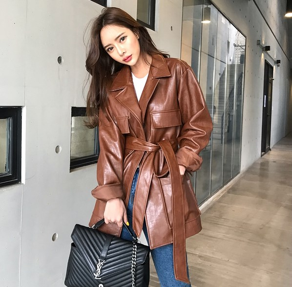 Women Lapel Collar Short Trench Coat Pu   Leather   Coat Clothes Brown With Belt
