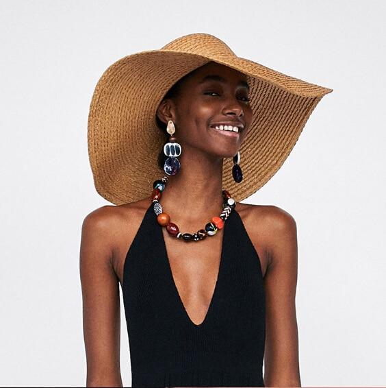Bohemian Acrylic Round Beads Stud Earrings Long for Women Ladies Boho Tortoiseshell Statement Earrings Maxi Bijoux Jewelry 2018