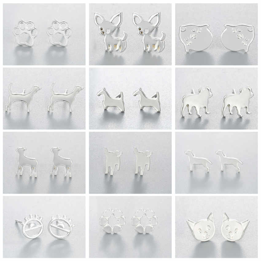 Kinitial Cute Animal Heart Dog Bird Paw Star Stud Earrings for Women Girls Ear Minimalist Jewelry Accessories Gifts pendientes