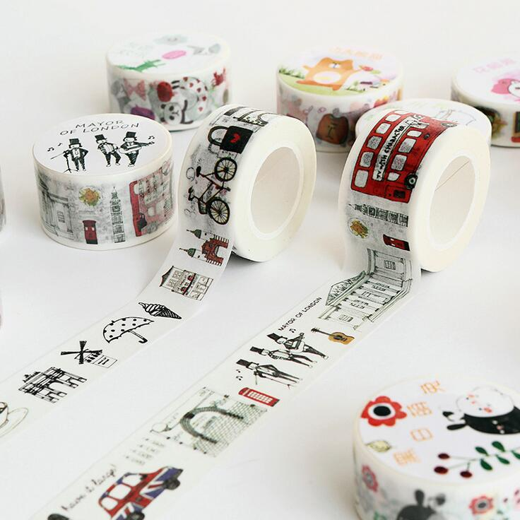 Creative Animal Travel to London  Washi Tape DIY Scrapbooking Sticker Label Masking Tape School Office Supply 1 5cm wide various mushroom collections washi tape diy scrapbooking sticker label masking tape school office supply