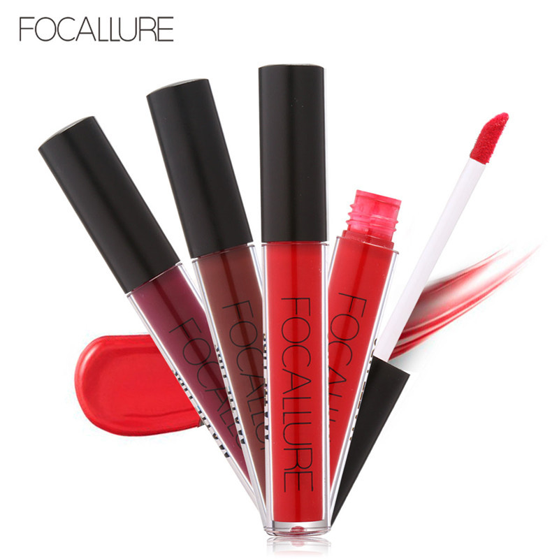 FOCALLURE Waterproof Matte Liquid Lipstick Moisturizer Smooth Lip Stick Colorful Long Lasting Lip Gloss Cosmetic Beauty Makeup