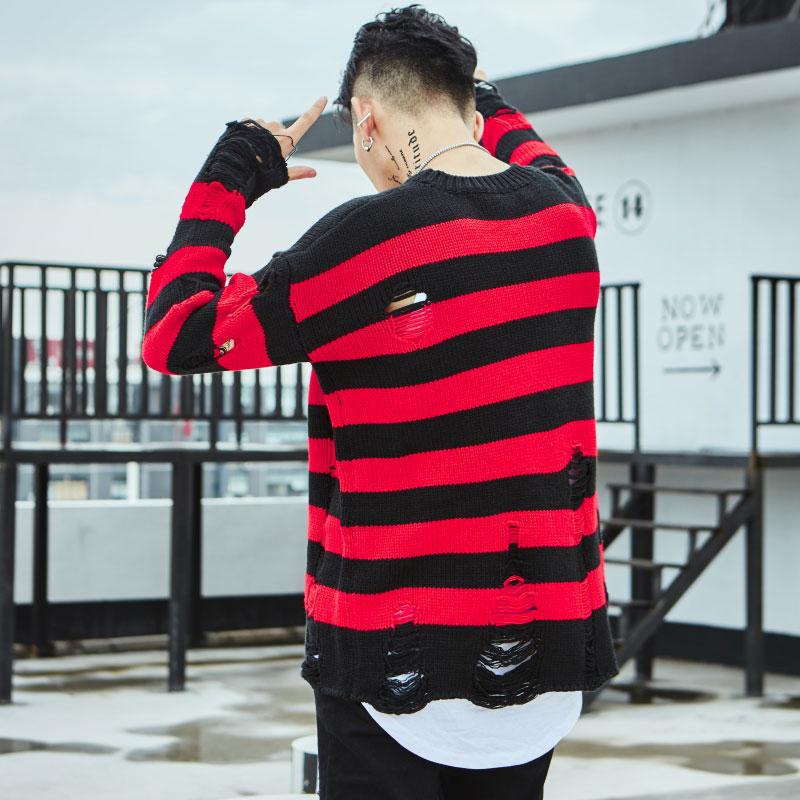 Ripped Stripe Knit Sweaters 10