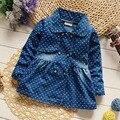 Moda outono criança das crianças do bebê meninas crianças jaqueta de manga comprida casaco denim outwear jeans polka dot princesa arco de volta S3654