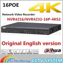 Original Dahua English version NVR4216-16P-4KS2 NVR4232-16P-4KS2 16 32Channel 1U 16PoE 4K H.265 Lite Network Video Recorder