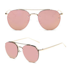 Hot Sell Cat Eye Sunglasses Women Vintage Fashion Rose Gold Mirror Sun Glasses Unique Flat Ladies Sunglasses Oculos UV400-448E
