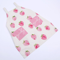 2017 Beautiful Apron Cute White Red Strawberry Pattern Women Kitchen Restaurant Bib Cooking Aprons With Pocket