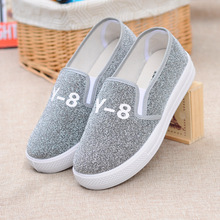2016 Platform Loafers Fashion Bling Glitter Women Shoes Slip On Flats Ladies Hot black Silver Shoes Woman Size