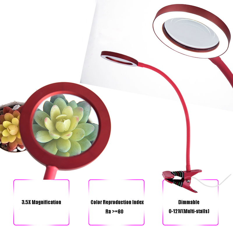 Magnifying Glass 3X LED Lighted Magnifying Lamp USB Powered Clip On Optical Glass Magnifier Lens with Light Setting 10x large desk clip on magnifying glass lamp lighted illuminated white optical glass magnifier folding stand for pcb inspection