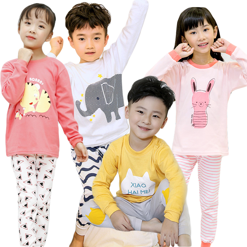 Baby   Pajamas     Sets   Boys Cartoon Night Suit Children Cotton Sleepwear Girls Pyjamas Kids 100% Cotton Nightwear 2pcs Shirt+Pant   Set
