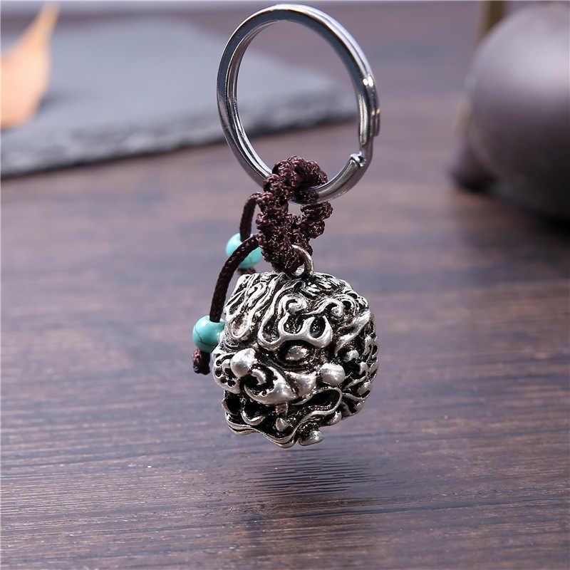 NEIPO เนปาลพุทธ Key Chain DIY Handmade Alloy หัวสิงโตจี้ Charm Keychain ผู้หญิงผู้ชายแหวนเครื่องประดับ