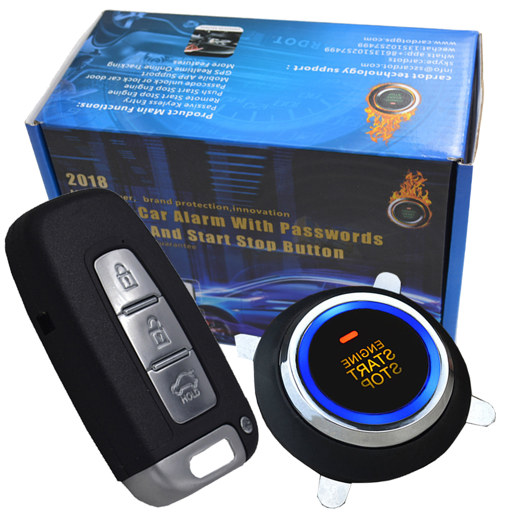 auto car engine start stop button handfree central lock unlock car door smart car anti theft alarm protection passwords keyless car auto engine start stop button smart key alarm security keyless entry lock or unlock by passwords pke auto central lock car
