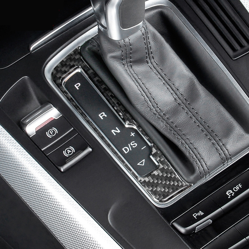 Carbon Fiber Center Console Gear Shift Panel Decoration Cover Trim For Audi A4 B8 2009-2016 LHD Car Styling image